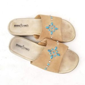 Minnetonka Leather Suede Sandals - Size 8